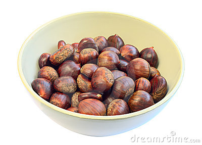 Bowl of raw sweet chestnuts