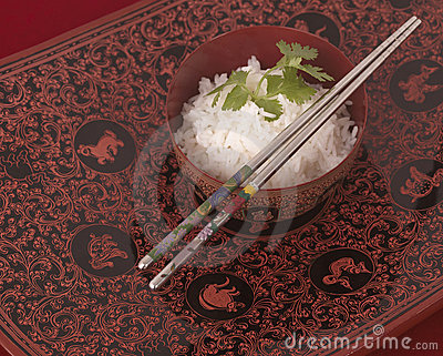 Bowl of rice and Chinese chopsticks