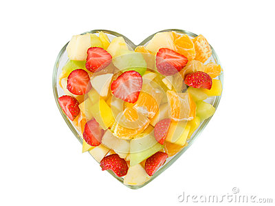 Bowl in the shape of hearts, filled with fruit