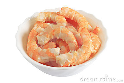 Bowl with shrimps