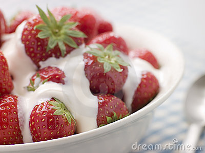 Bowl of Strawberries and Cream