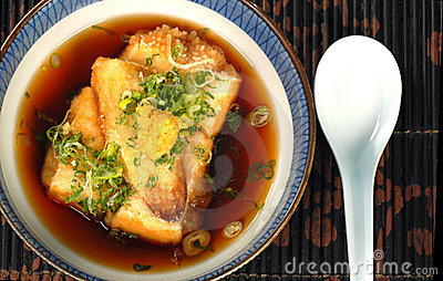 Bowl of tofu and miso broth soup