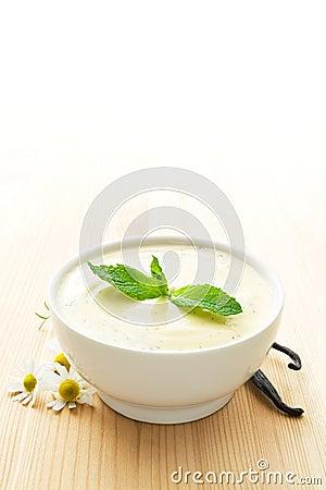 Bowl of vanilla yogurt