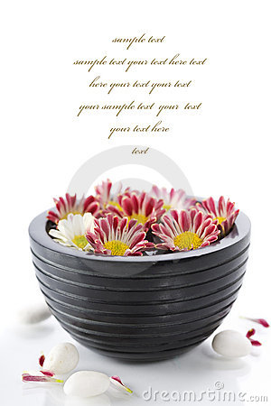 Bowl of water and flowers-SPA concept