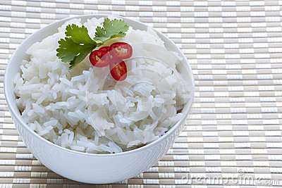 Bowl of White Rice with Red Chili and Cilantro
