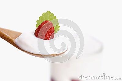 Bowl of yogurt with wild strawberry