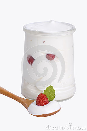 Bowl of yogurt with wild strawberry