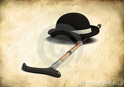 Bowler cap and cane