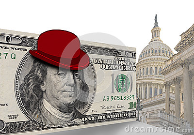 Bowler hat on American dollar bill