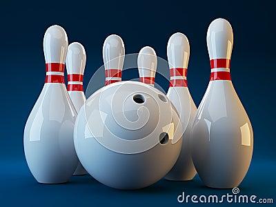 Bowling. 3D illustration on dark blue  background