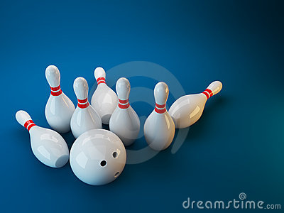 Bowling. 3D illustration on dark blue  background
