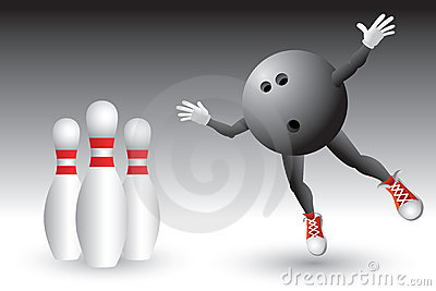 Bowling ball character heading to pins