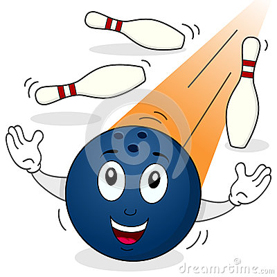 Bowling Ball Character with Skittles