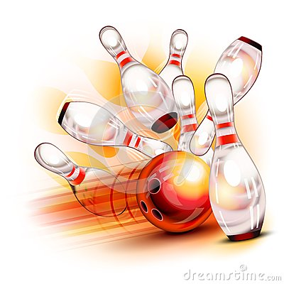 Free Bowling Ball Crashing Into The Shiny Pins Stock Photos - 29129763
