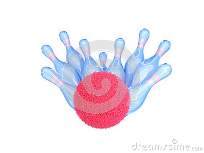 Bowling ball hits strike