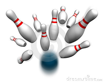 Bowling Ball Hitting Pins Royalty Free Stock Photos