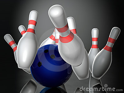 Bowling ball hitting skittles