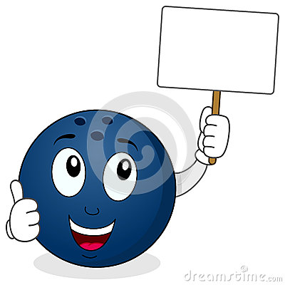 Free Bowling Ball Holding A Blank Banner Stock Image - 56273931