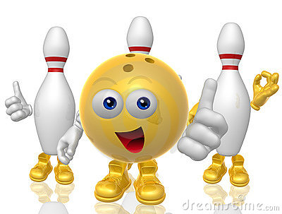 Clean Emoji Bowling Ball And Pin 3d Mascot Figure Stock