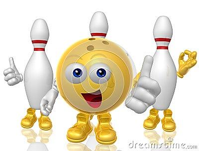 Bowling ball and pin 3d mascot figure