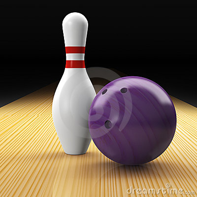 Bowling ball, pin and lane as a composition