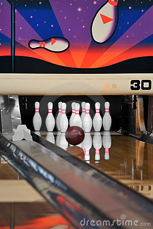Bowling - Ball reaching Pins Vertical