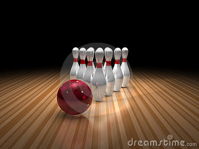 Bowling ball and ten pins