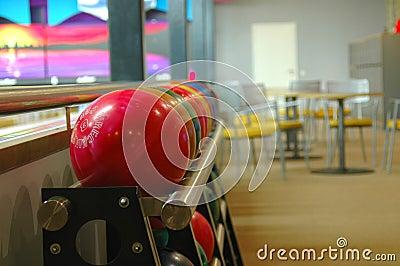 Bowling balls on a rack