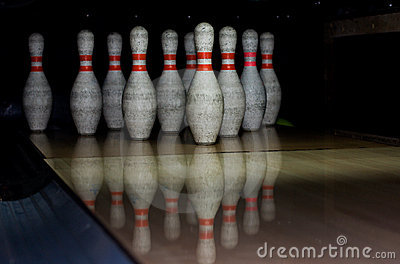 Bowling bowls in row