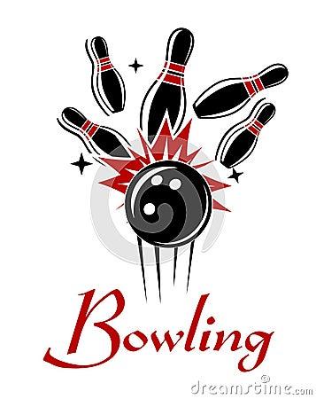 Free Bowling Emblem Or Logo Royalty Free Stock Image - 44295546