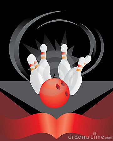 Bowling pins and red ball