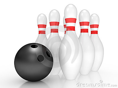 Bowling pins on white