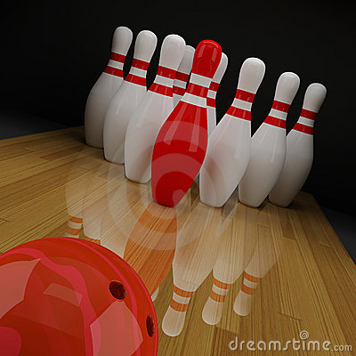 Bowling with a red skittle