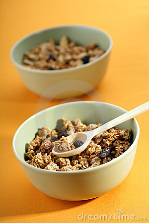 Bowls full of musli with milk, healthy breakfast