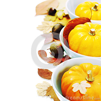 Bowls with pumpkins