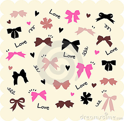 Free Bows And Hearts Backgroud Royalty Free Stock Images - 8232339