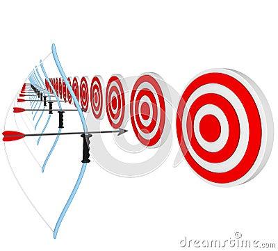 Bows and Arrows Pointing at Bulls-Eyes