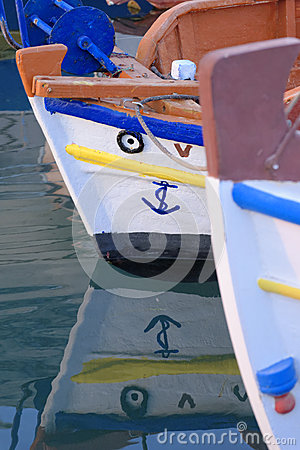 Bows of Greek fishing boats
