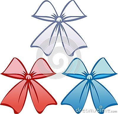 Bows in patriotic colors (Vector)