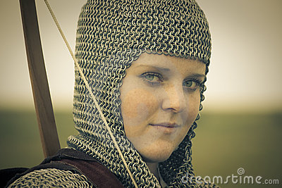 Bows woman / medieval armor / retro split toned
