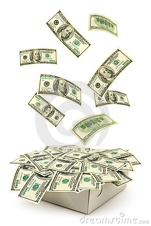 Free Box And Falling Money Stock Image - 7428521