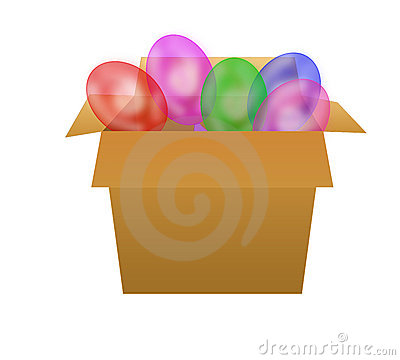 Box with ballons.