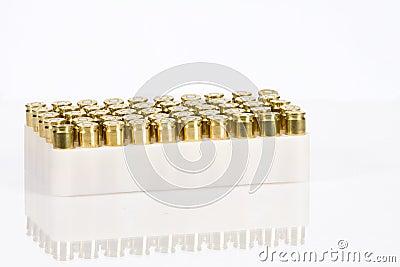 Box of brass gun ammunition
