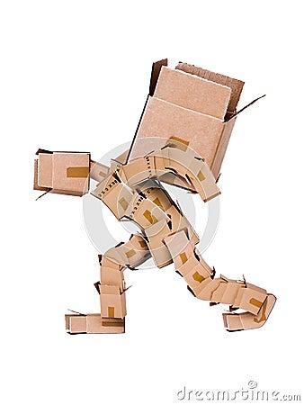 Free Box Character Hauling Large Box Royalty Free Stock Images - 24603919