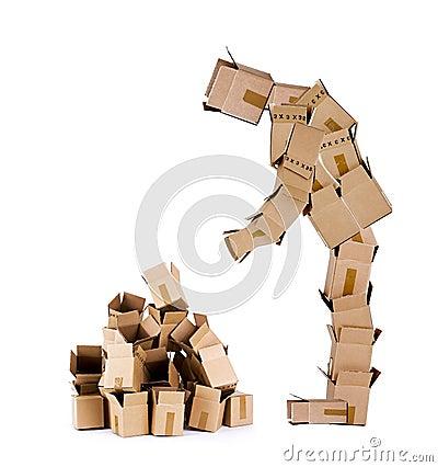 Free Box Character Looking At Box Pile Royalty Free Stock Photo - 24384625