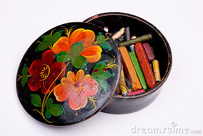 Box with color slate pencils