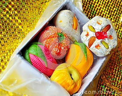 Box of Colorful homemade diwali sweets