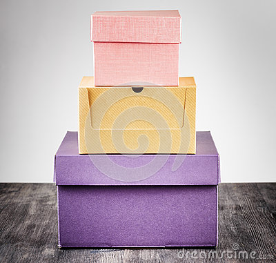 Colorful package box on a table