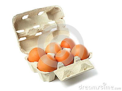 Box with eggs on white