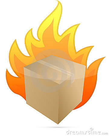 Box on fire illustration design